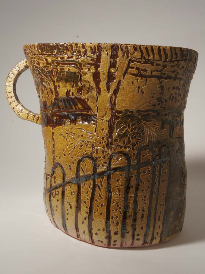 Large jug with lead glaze by kerry jameson